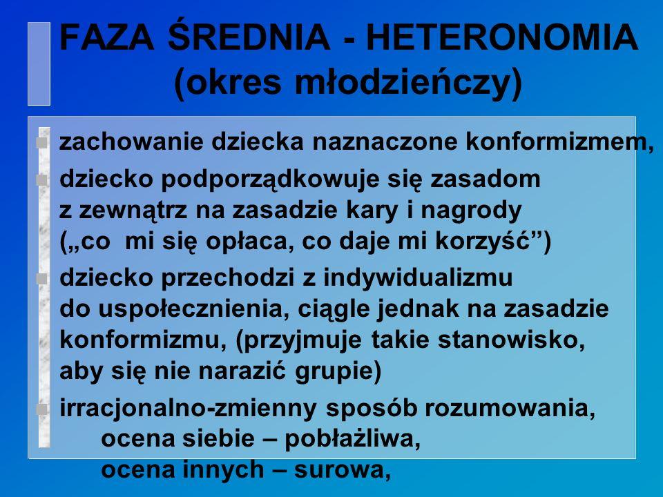 FAZA ŚREDNIA - HETERONOMIA (okres młodzieńczy)