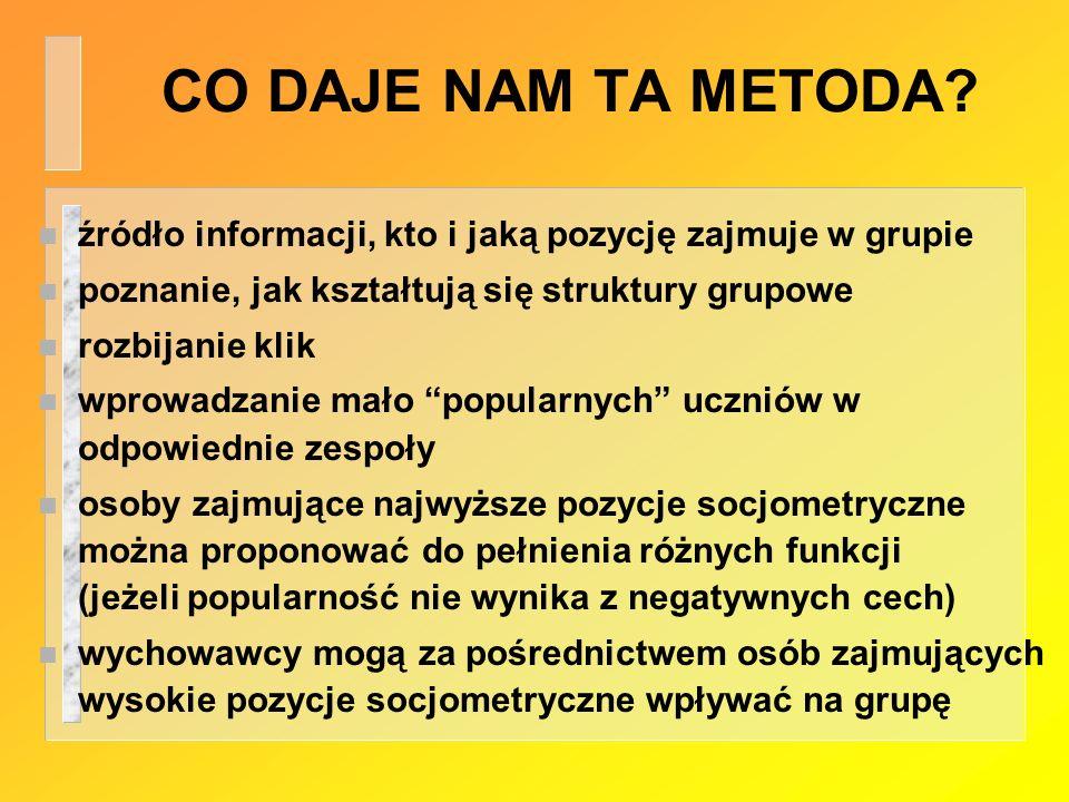 CO DAJE NAM TA METODA źródło informacji, kto i jaką pozycję zajmuje w grupie. poznanie, jak kształtują się struktury grupowe.