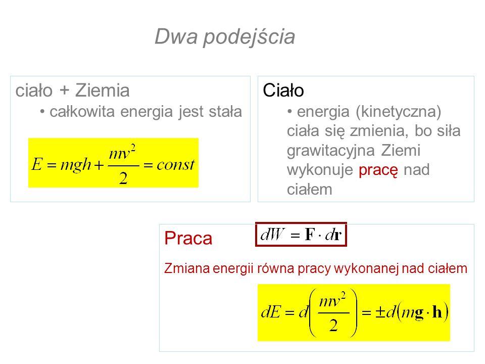 Dwa podejścia ciało + Ziemia Ciało Praca całkowita energia jest stała