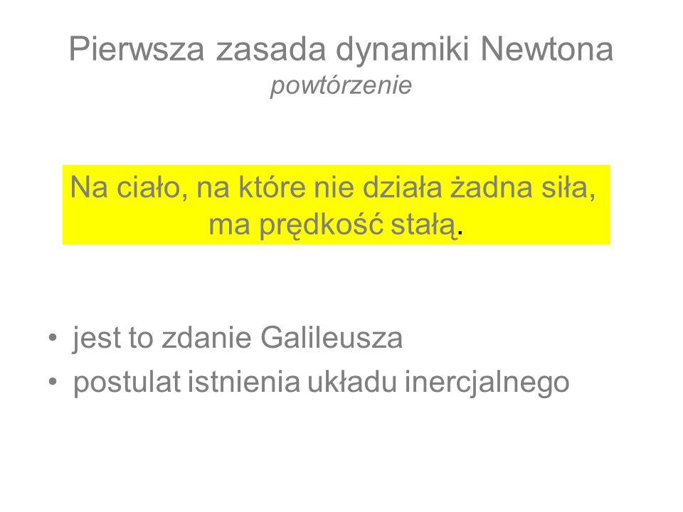 Pierwsza zasada dynamiki Newtona powtórzenie