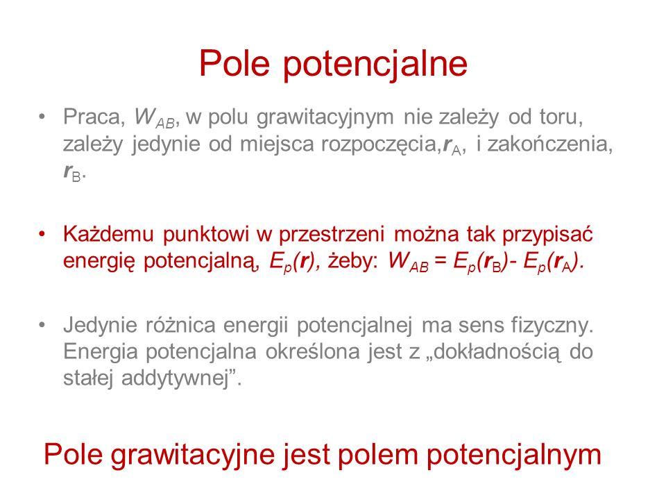 Pole potencjalne Pole grawitacyjne jest polem potencjalnym
