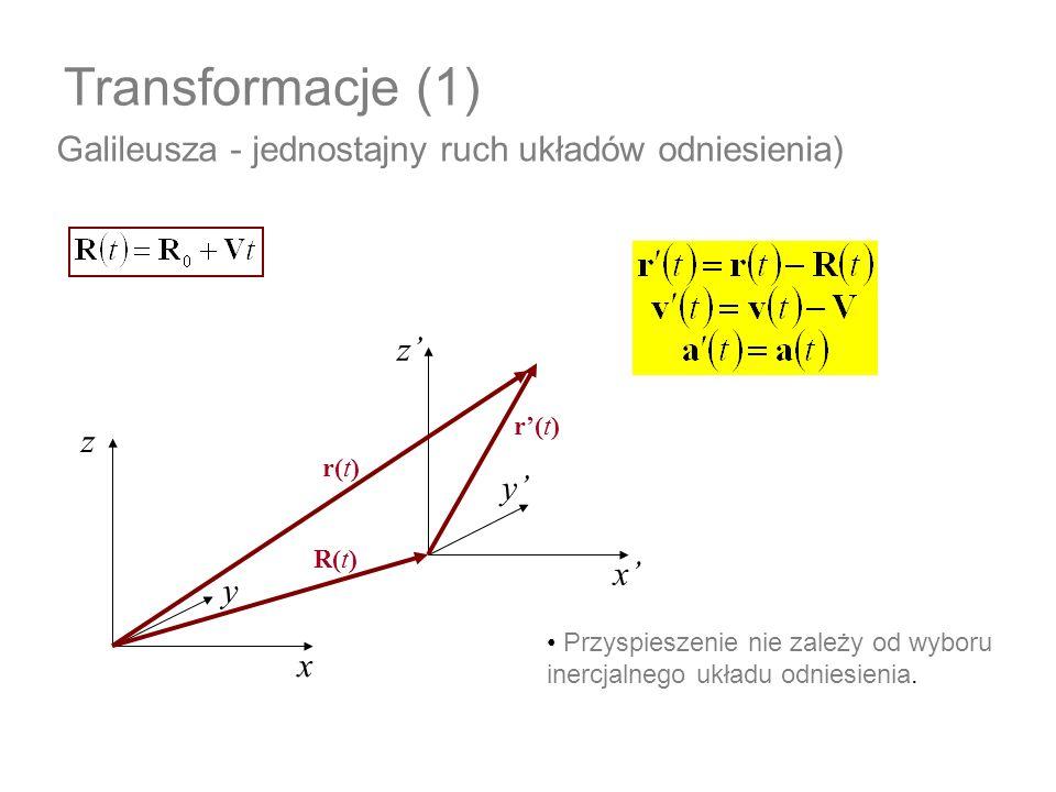 Transformacje (1) Galileusza - jednostajny ruch układów odniesienia)