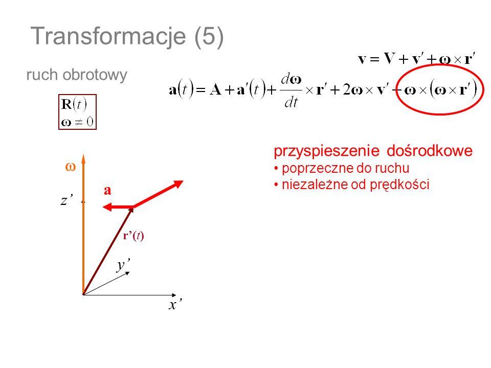 Transformacje (5) ruch obrotowy przyspieszenie dośrodkowe w a z' y' x'