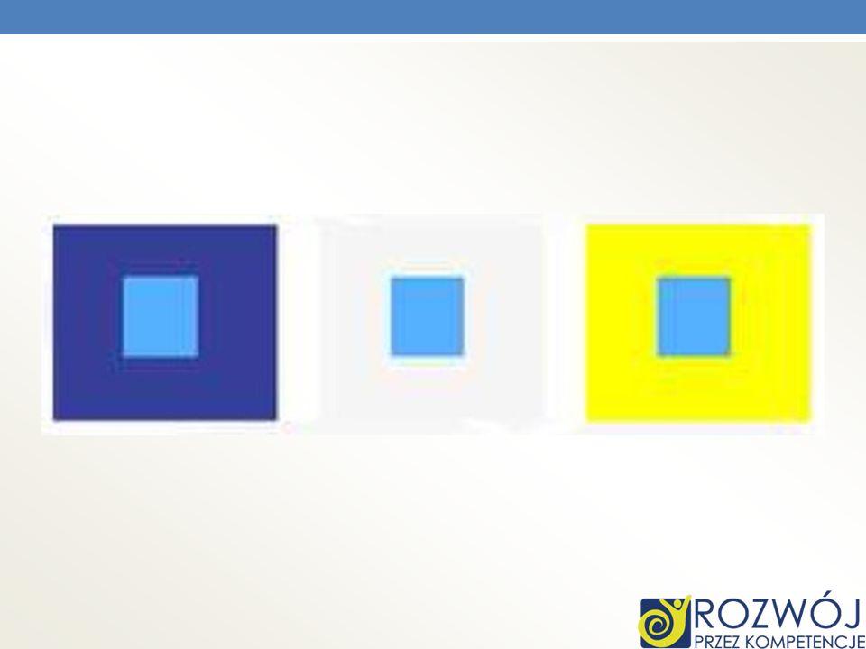 Na przykładzie kwadrat niebieski wydaje się ciemniejszy lub jaśniejszy w zależności od tła na którym się znajduje.