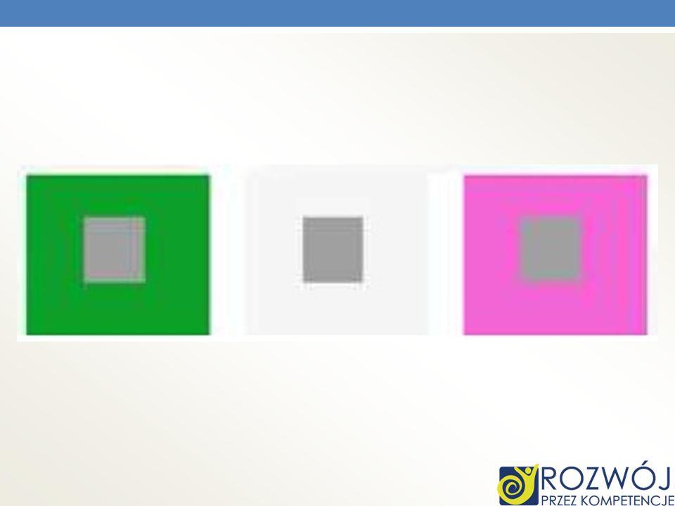 Podobnie jest z szarym kwadratem, który uzyskuje odcień w zależności od tła.