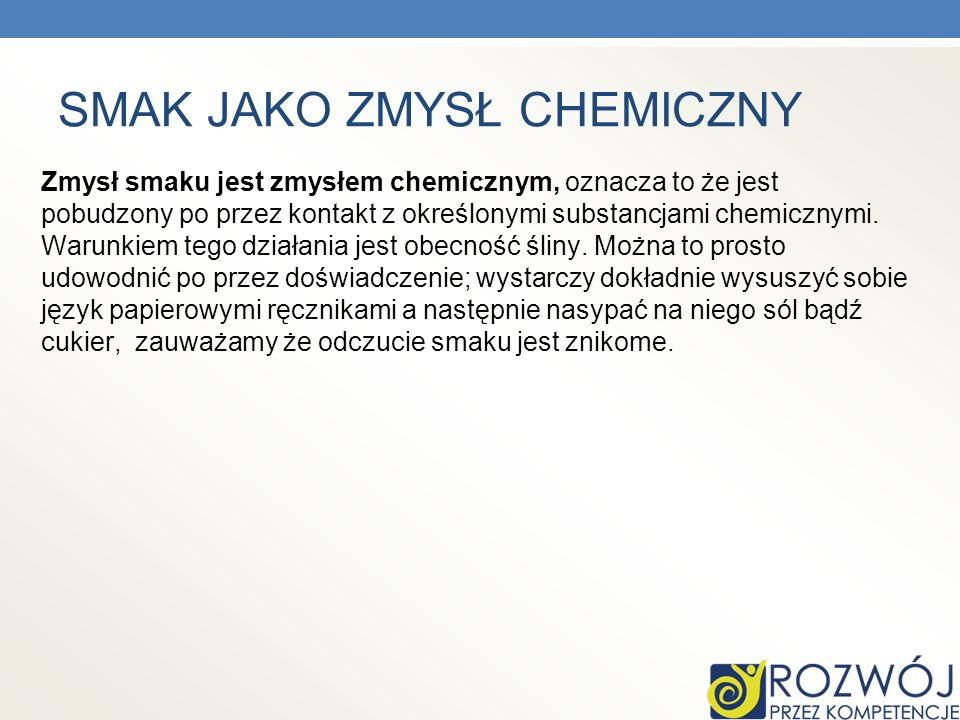 SMAK JAKO ZMYSŁ CHEMICZNY