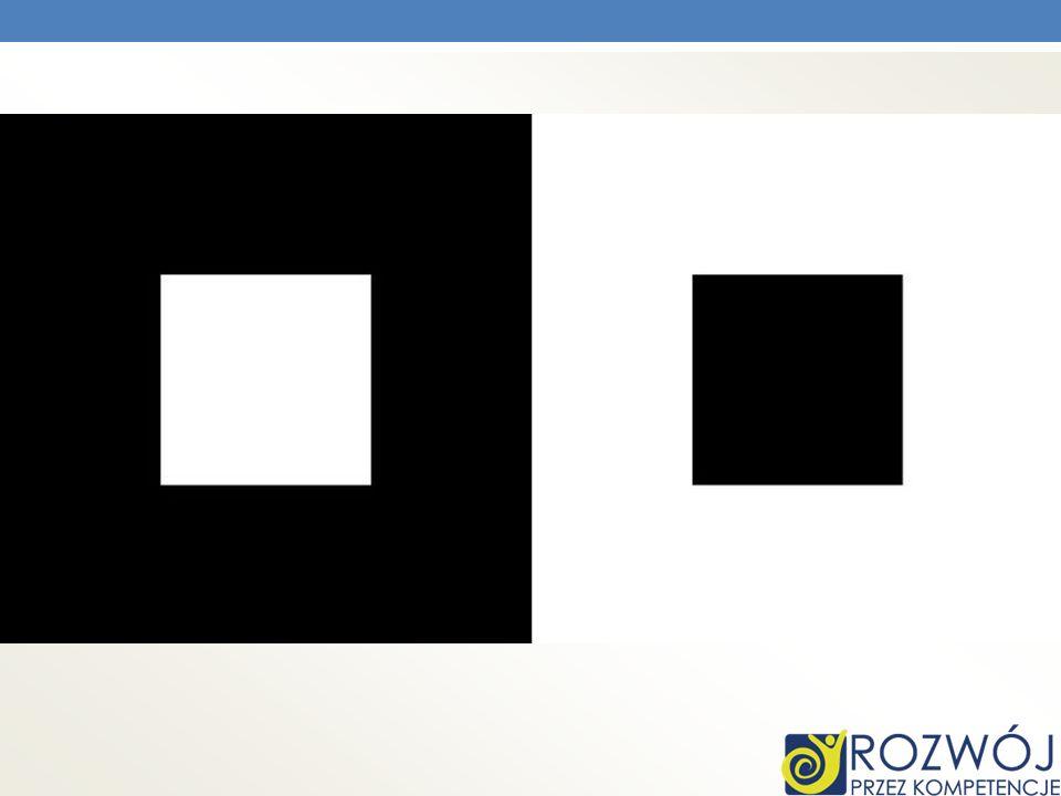 Biały kwadrat na ciemnym tle wydaje się być większy niż czarny na jasnym, mimo iż obydwa są tej samej wielkości.