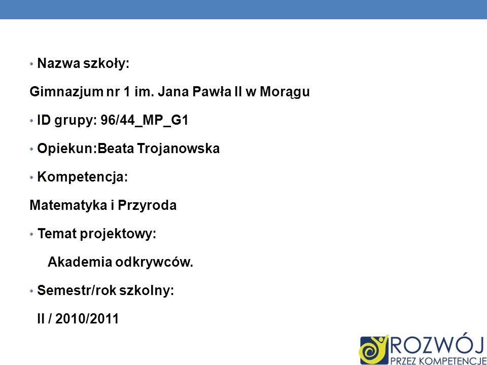 Nazwa szkoły: Gimnazjum nr 1 im. Jana Pawła II w Morągu. ID grupy: 96/44_MP_G1. Opiekun:Beata Trojanowska.
