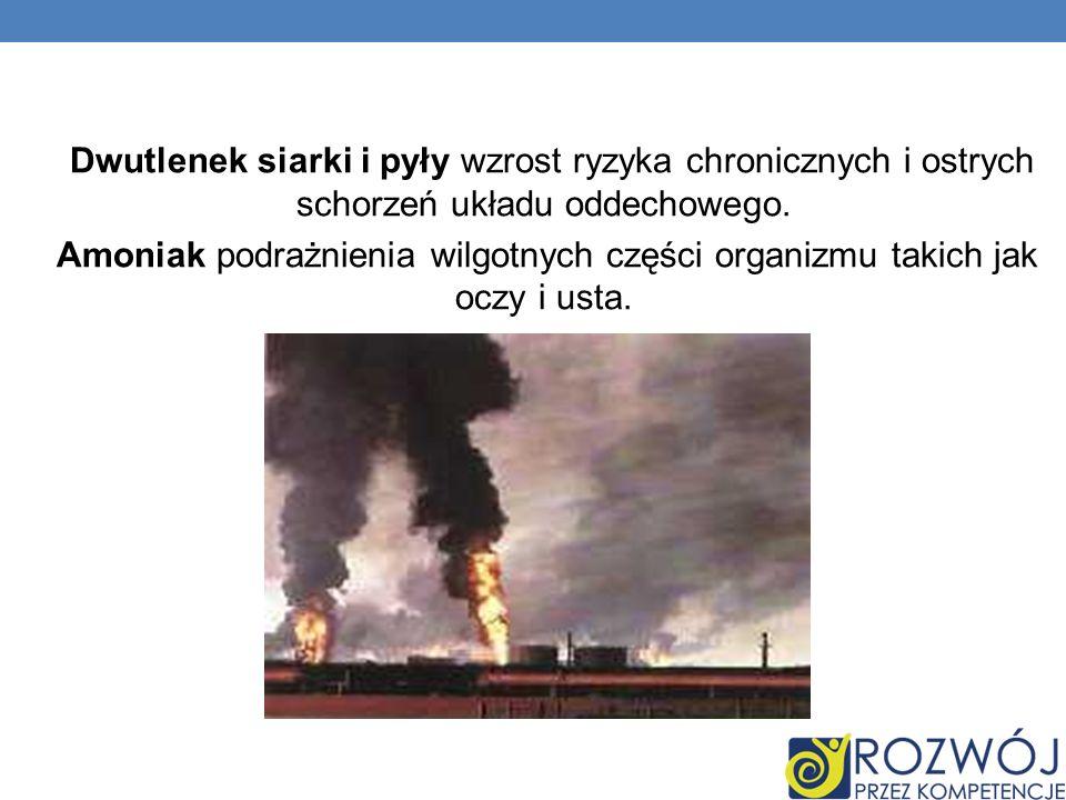 Dwutlenek siarki i pyły wzrost ryzyka chronicznych i ostrych schorzeń układu oddechowego.