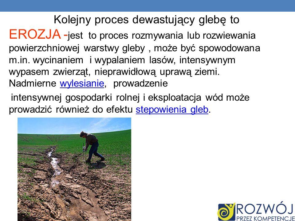 Kolejny proces dewastujący glebę to EROZJA -jest to proces rozmywania lub rozwiewania powierzchniowej warstwy gleby , może być spowodowana m.in. wycinaniem i wypalaniem lasów, intensywnym wypasem zwierząt, nieprawidłową uprawą ziemi. Nadmierne wylesianie, prowadzenie