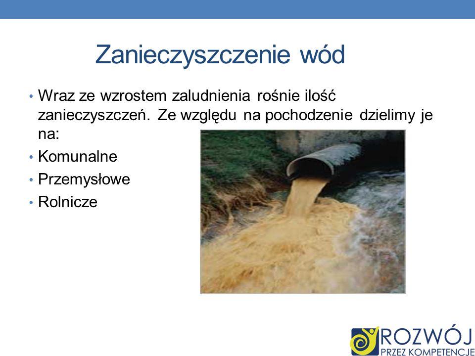 Zanieczyszczenie wód Wraz ze wzrostem zaludnienia rośnie ilość zanieczyszczeń. Ze względu na pochodzenie dzielimy je na: