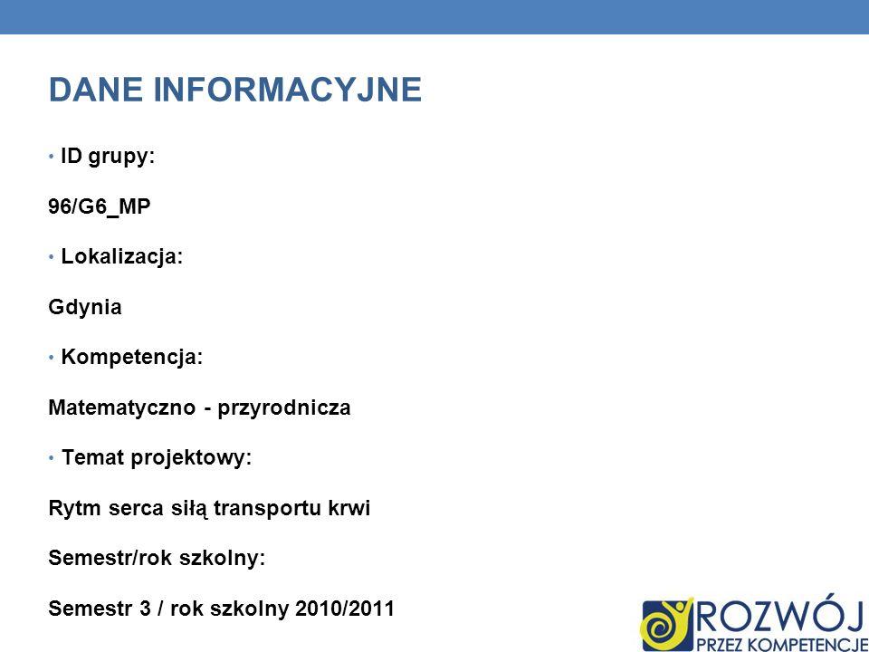 DANE INFORMACYJNE ID grupy: 96/G6_MP Lokalizacja: Gdynia Kompetencja: