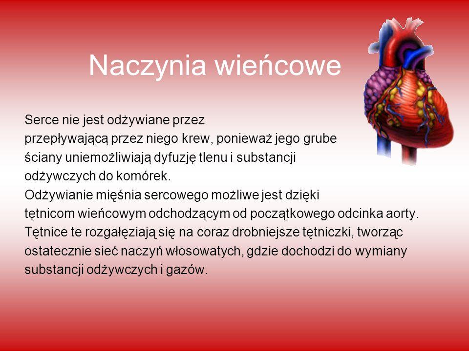 Naczynia wieńcowe Serce nie jest odżywiane przez