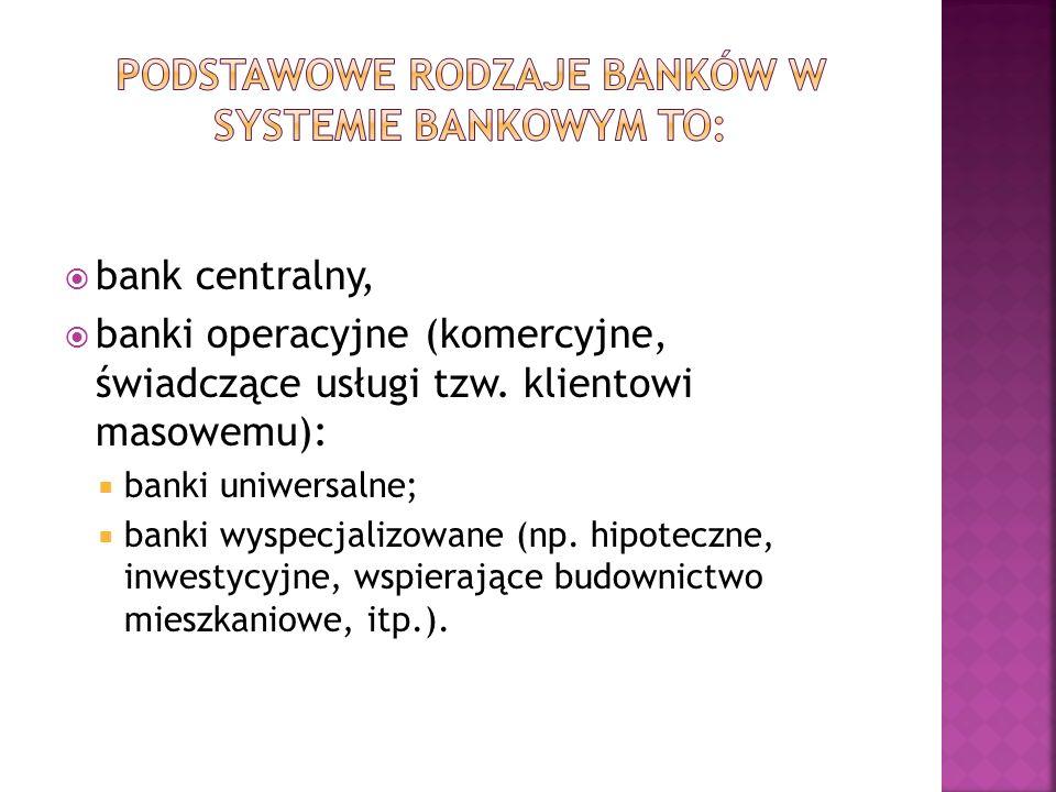 Podstawowe rodzaje banków w systemie bankowym to: