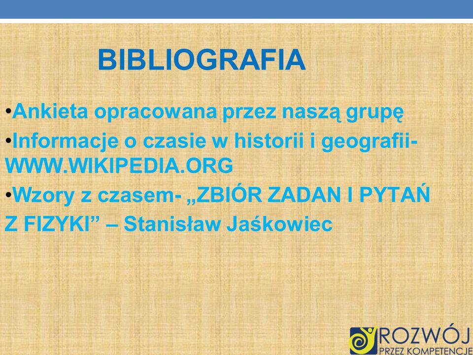 BIBLIOGRAFIA Ankieta opracowana przez naszą grupę