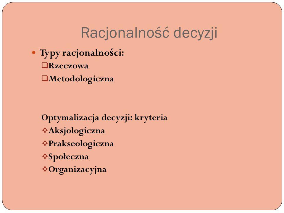 Racjonalność decyzji Typy racjonalności: Rzeczowa Metodologiczna