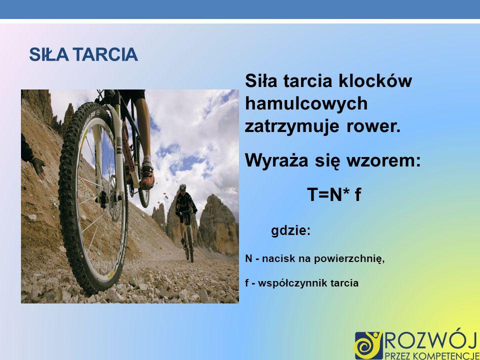 Siła tarcia klocków hamulcowych zatrzymuje rower.