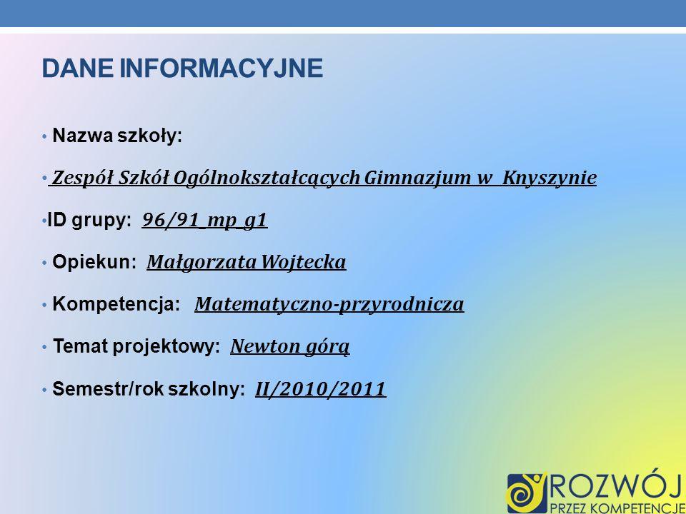 Dane INFORMACYJNE Nazwa szkoły: Zespół Szkół Ogólnokształcących Gimnazjum w Knyszynie. ID grupy: 96/91_mp_g1.