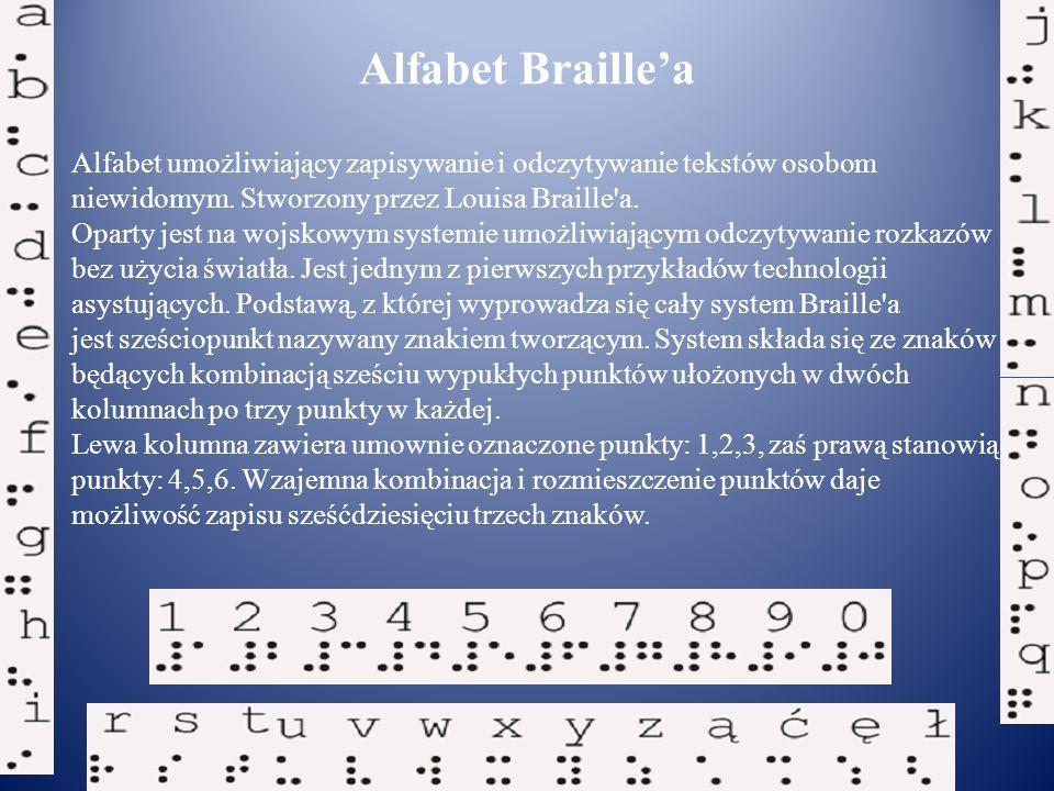 Alfabet Braille'a Alfabet umożliwiający zapisywanie i odczytywanie tekstów osobom. niewidomym. Stworzony przez Louisa Braille a.