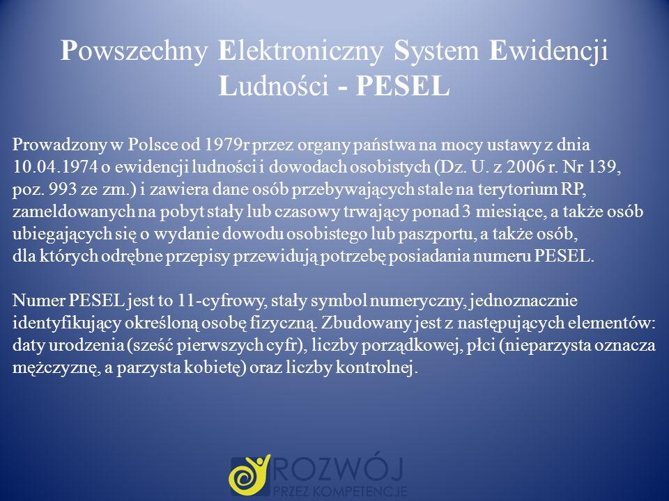 Powszechny Elektroniczny System Ewidencji Ludności - PESEL