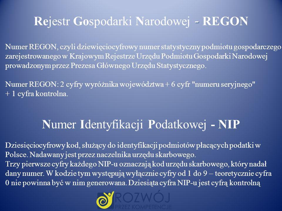 Rejestr Gospodarki Narodowej - REGON