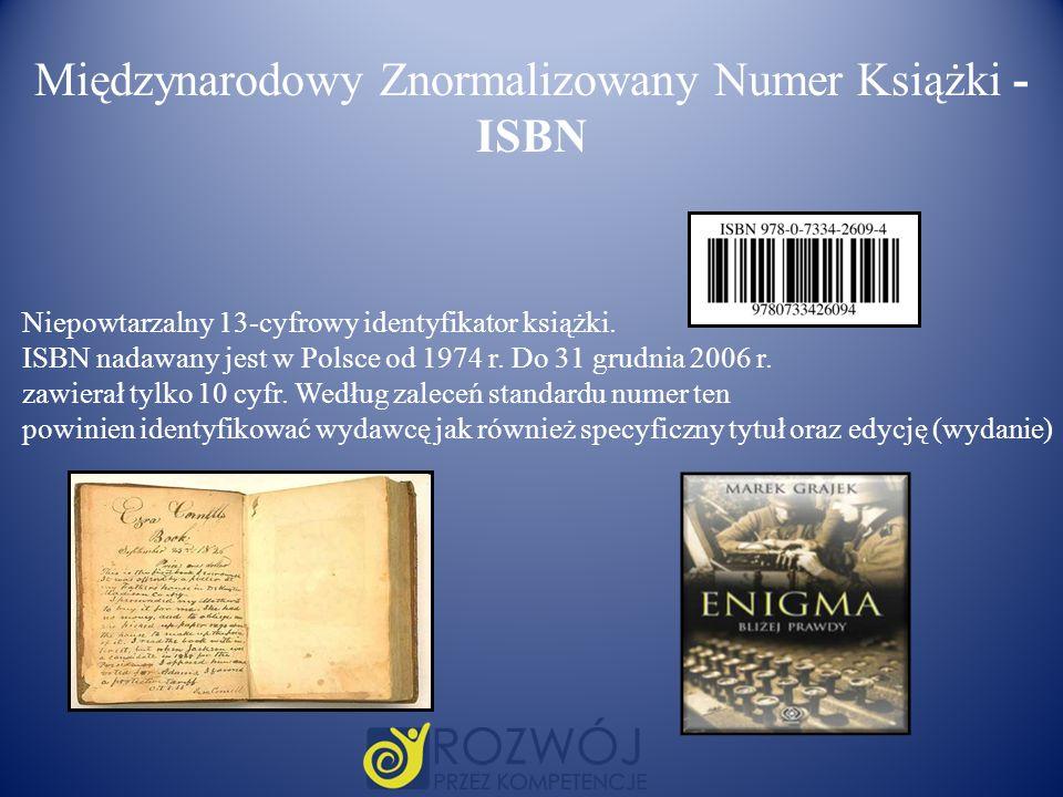 Międzynarodowy Znormalizowany Numer Książki - ISBN