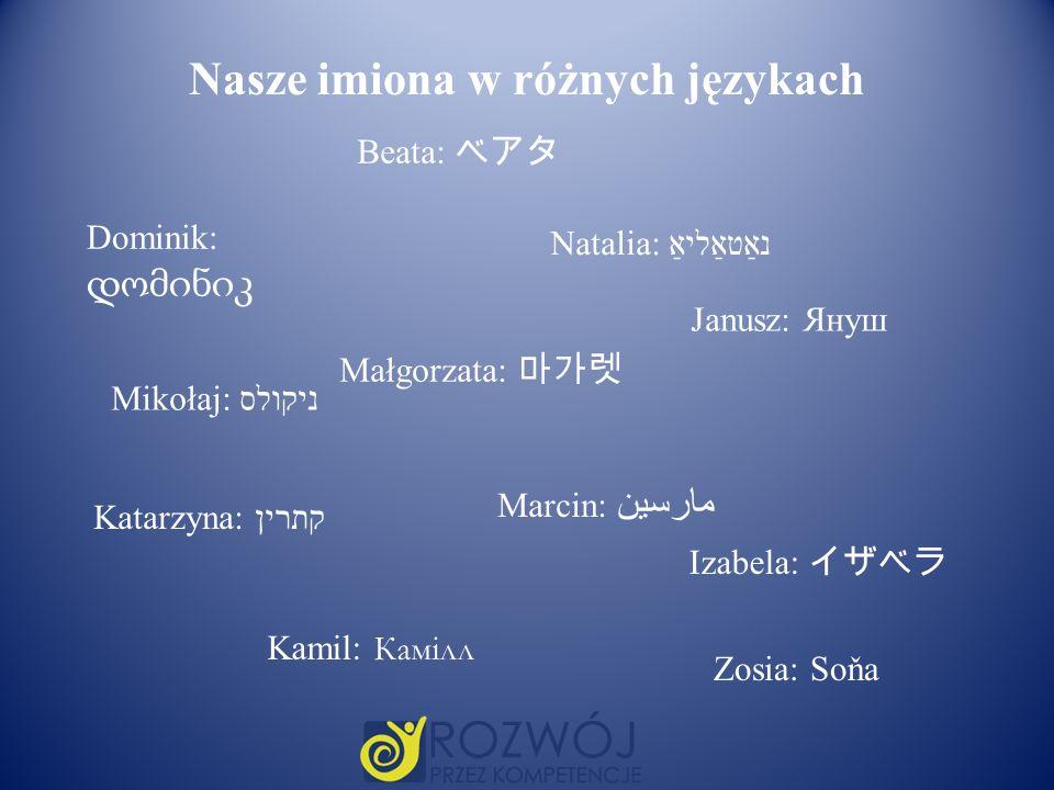 Nasze imiona w różnych językach