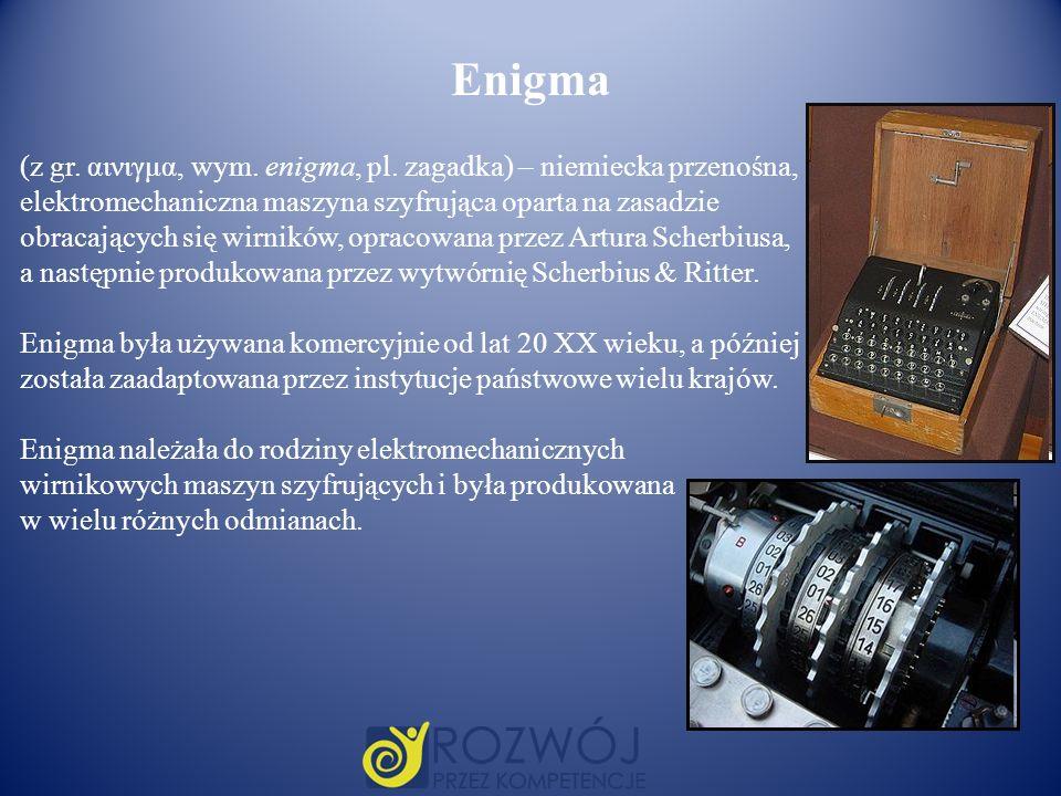 Enigma (z gr. αινιγμα, wym. enigma, pl. zagadka) – niemiecka przenośna, elektromechaniczna maszyna szyfrująca oparta na zasadzie.
