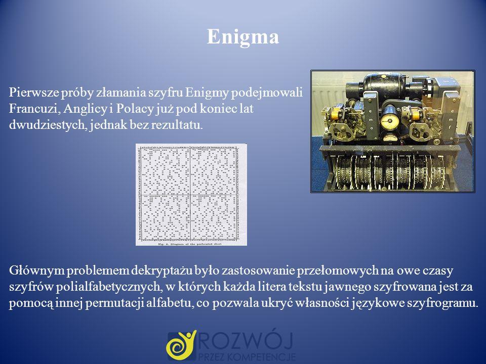 Enigma Pierwsze próby złamania szyfru Enigmy podejmowali