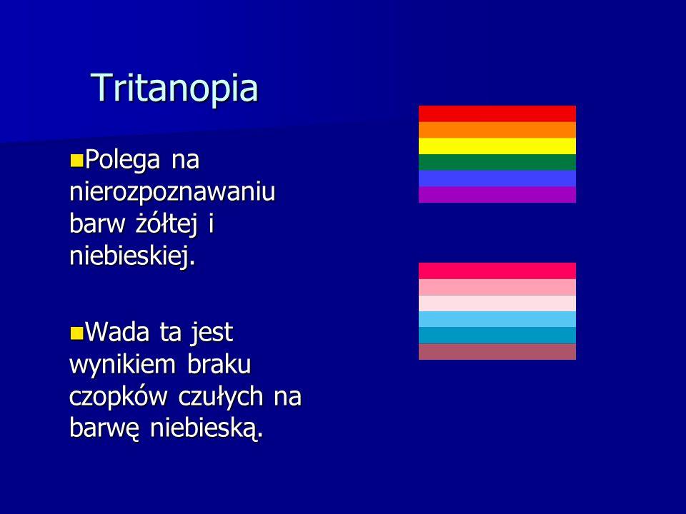 Tritanopia Polega na nierozpoznawaniu barw żółtej i niebieskiej.