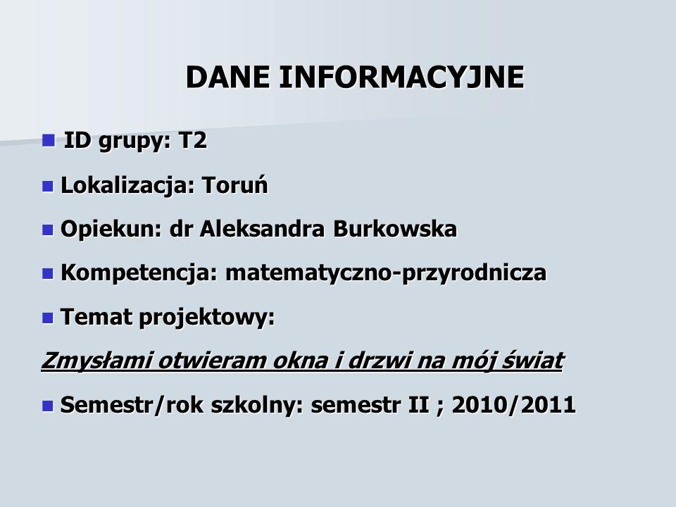 DANE INFORMACYJNE ID grupy: T2 Lokalizacja: Toruń