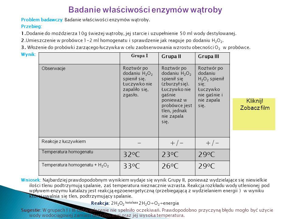 Badanie właściwości enzymów wątroby