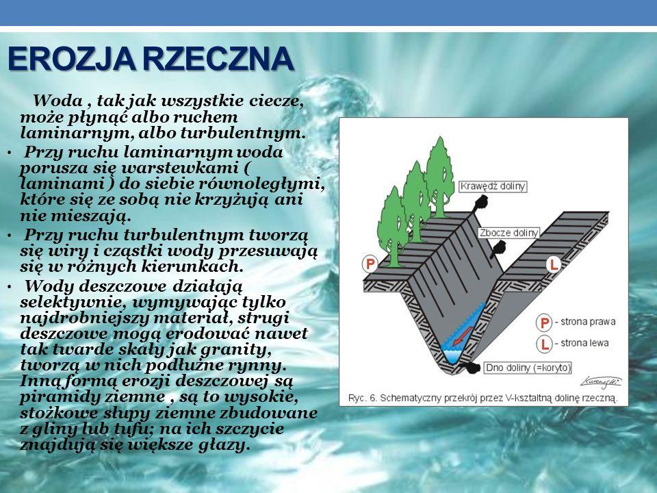 EROZJA RZECZNA Woda , tak jak wszystkie ciecze, może płynąć albo ruchem laminarnym, albo turbulentnym.
