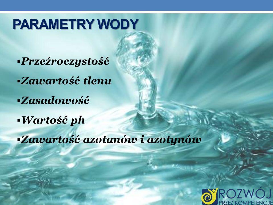 Parametry Wody Przeźroczystość Zawartość tlenu Zasadowość Wartość ph
