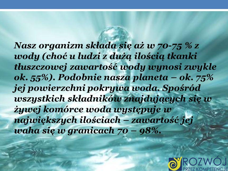 Nasz organizm składa się aż w 70-75 % z wody (choć u ludzi z dużą ilością tkanki tłuszczowej zawartość wody wynosi zwykle ok. 55%). Podobnie nasza planeta – ok. 75% jej powierzchni pokrywa woda. Spośród wszystkich składników znajdujących się w żywej komórce woda występuje w największych ilościach – zawartość jej waha się w granicach 70 – 98%.