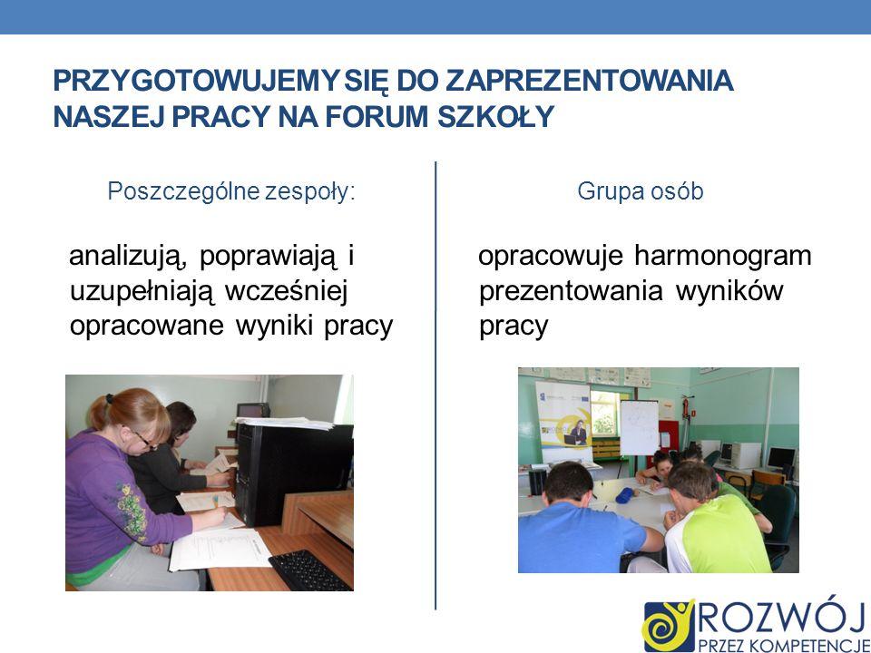 Przygotowujemy się do zaprezentowania naszej pracy na forum szkoły