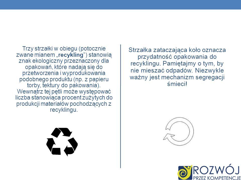 """Trzy strzałki w obiegu (potocznie zwane mianem """"recykling ) stanowią znak ekologiczny przeznaczony dla opakowań, które nadają się do przetworzenia i wyprodukowania podobnego produktu (np. z papieru torby, tektury do pakowania). Wewnątrz tej pętli może występować liczba stanowiąca procent zużytych do produkcji materiałów pochodzących z recyklingu."""