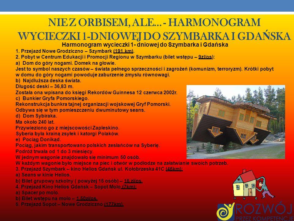 Harmonogram wycieczki 1- dniowej do Szymbarka i Gdańska