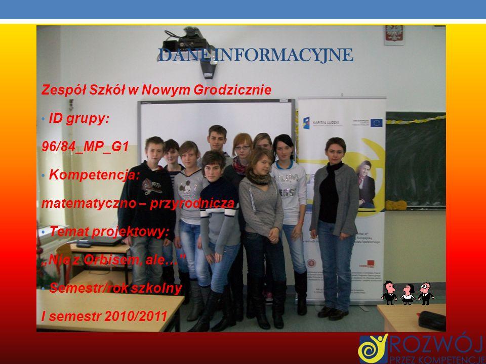 DANE INFORMACYJNE Zespół Szkół w Nowym Grodzicznie ID grupy: