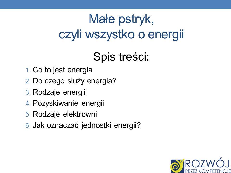 Małe pstryk, czyli wszystko o energii