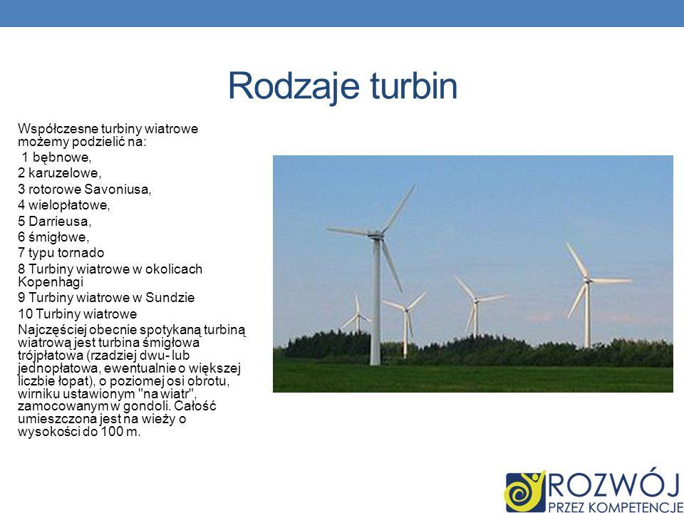 Rodzaje turbin Współczesne turbiny wiatrowe możemy podzielić na: