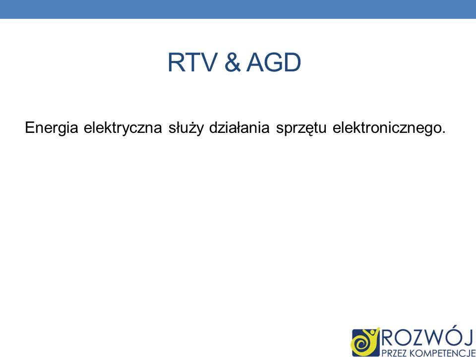 Energia elektryczna służy działania sprzętu elektronicznego.