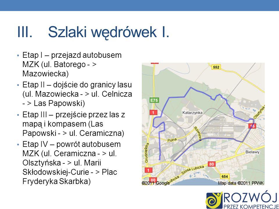 Szlaki wędrówek I. Etap I – przejazd autobusem MZK (ul. Batorego - > Mazowiecka)