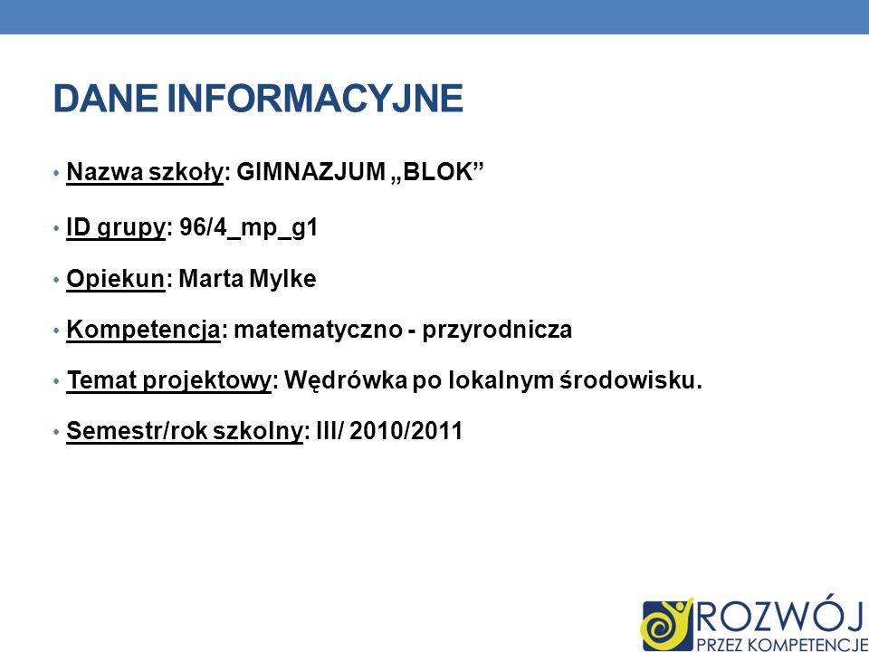 """DANE INFORMACYJNE Nazwa szkoły: GIMNAZJUM """"BLOK ID grupy: 96/4_mp_g1"""