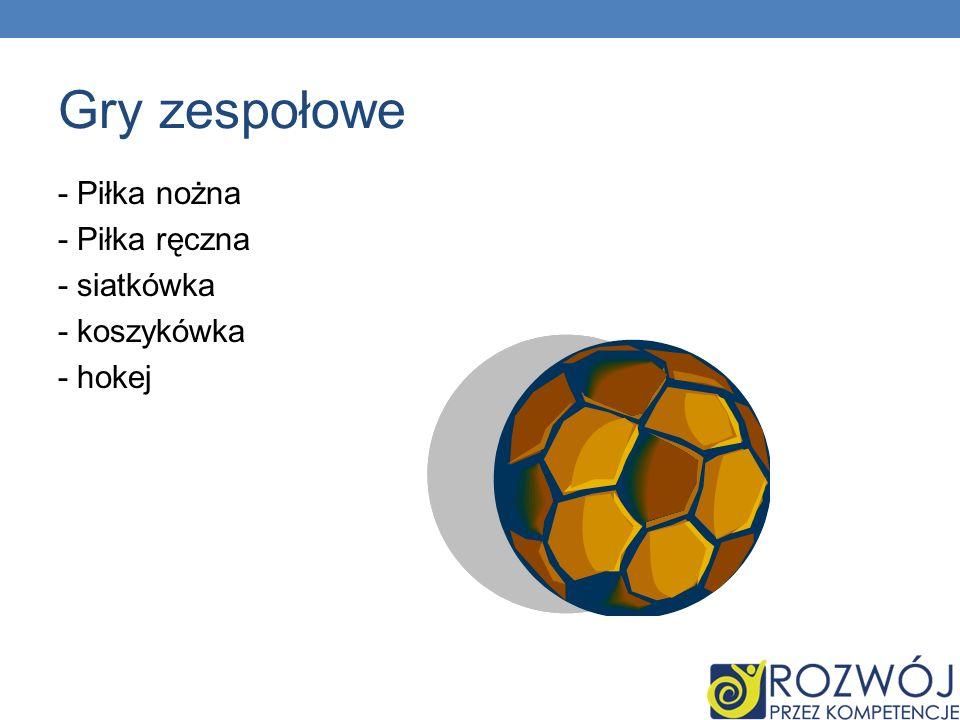 Gry zespołowe - Piłka nożna - Piłka ręczna - siatkówka - koszykówka