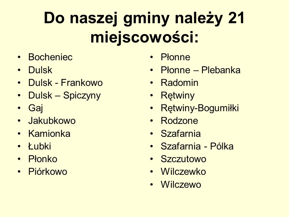 Do naszej gminy należy 21 miejscowości: