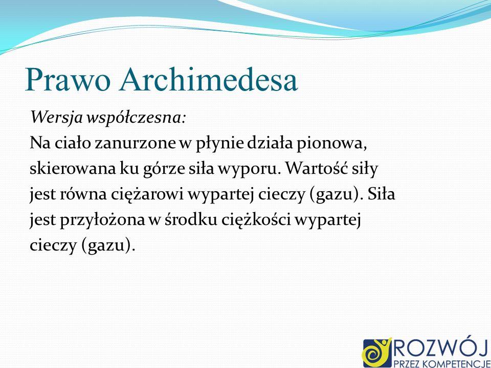 Prawo Archimedesa Wersja współczesna: