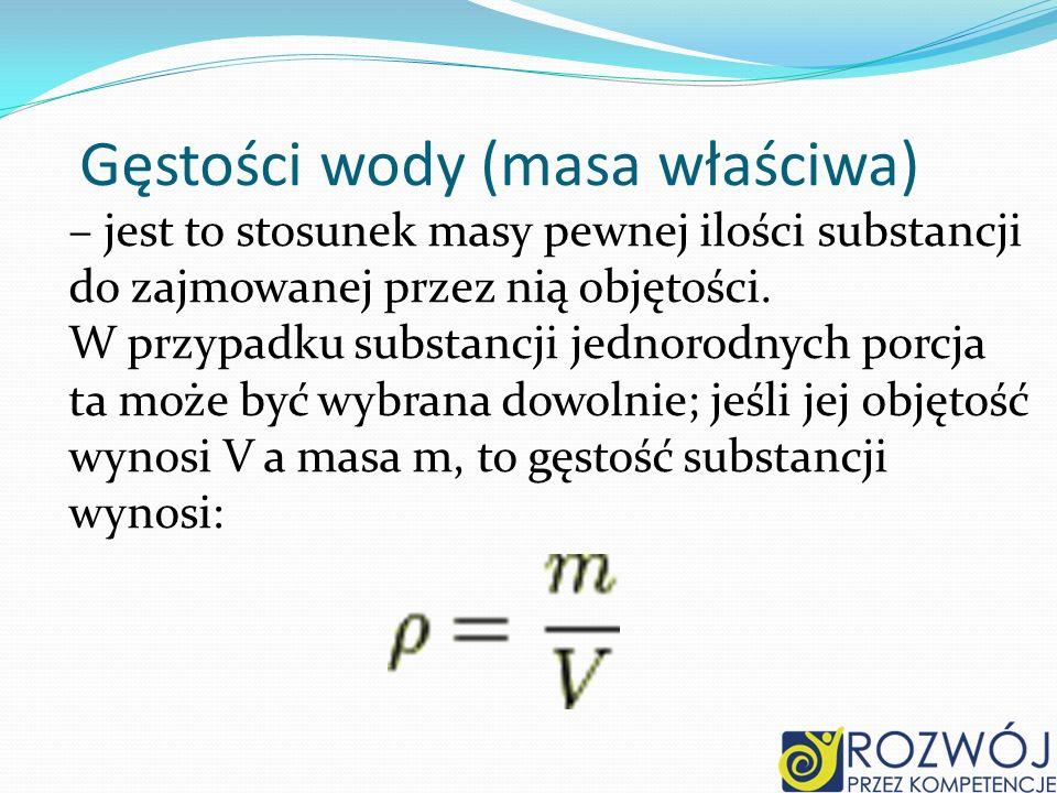 Gęstości wody (masa właściwa)