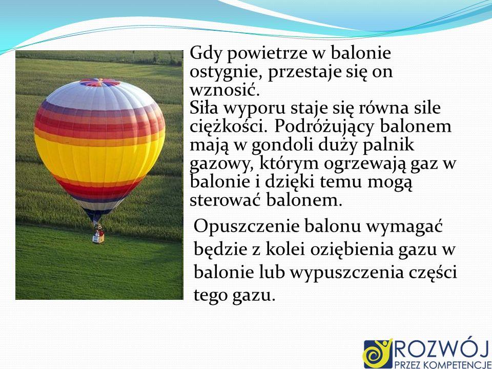 Gdy powietrze w balonie ostygnie, przestaje się on wznosić.