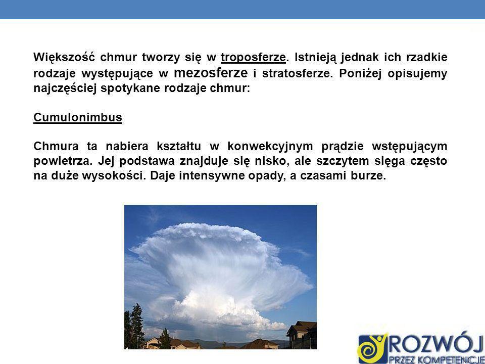 Większość chmur tworzy się w troposferze